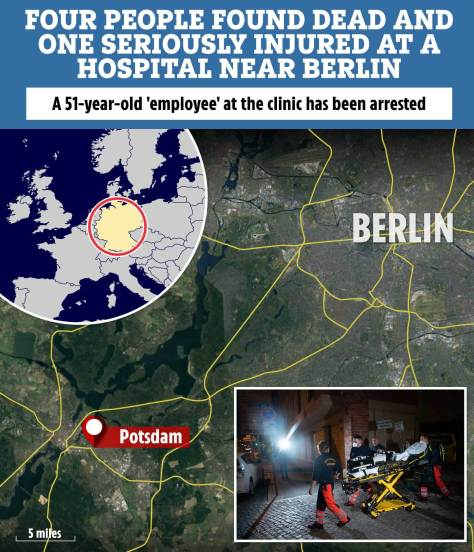 Four found dead & one seriously injured at hospital near Berlin as female 'employee', 51, arrested
