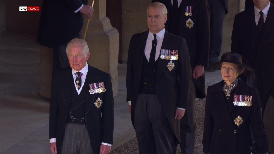 Prince Charles and Prince Andrew walked with Princess Anne behind their father's casket