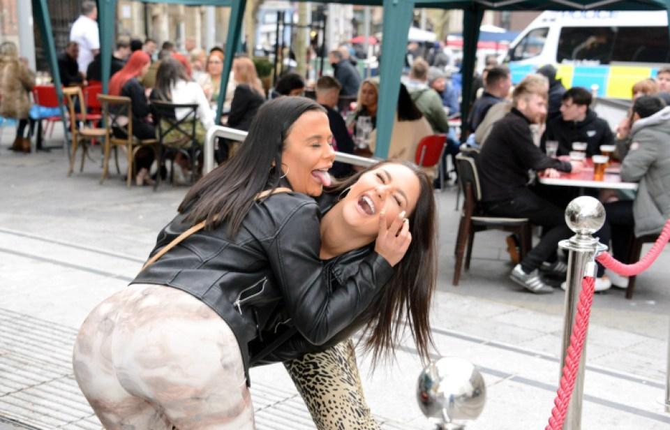 Two women enjoying their newfound freedom in Newcastle