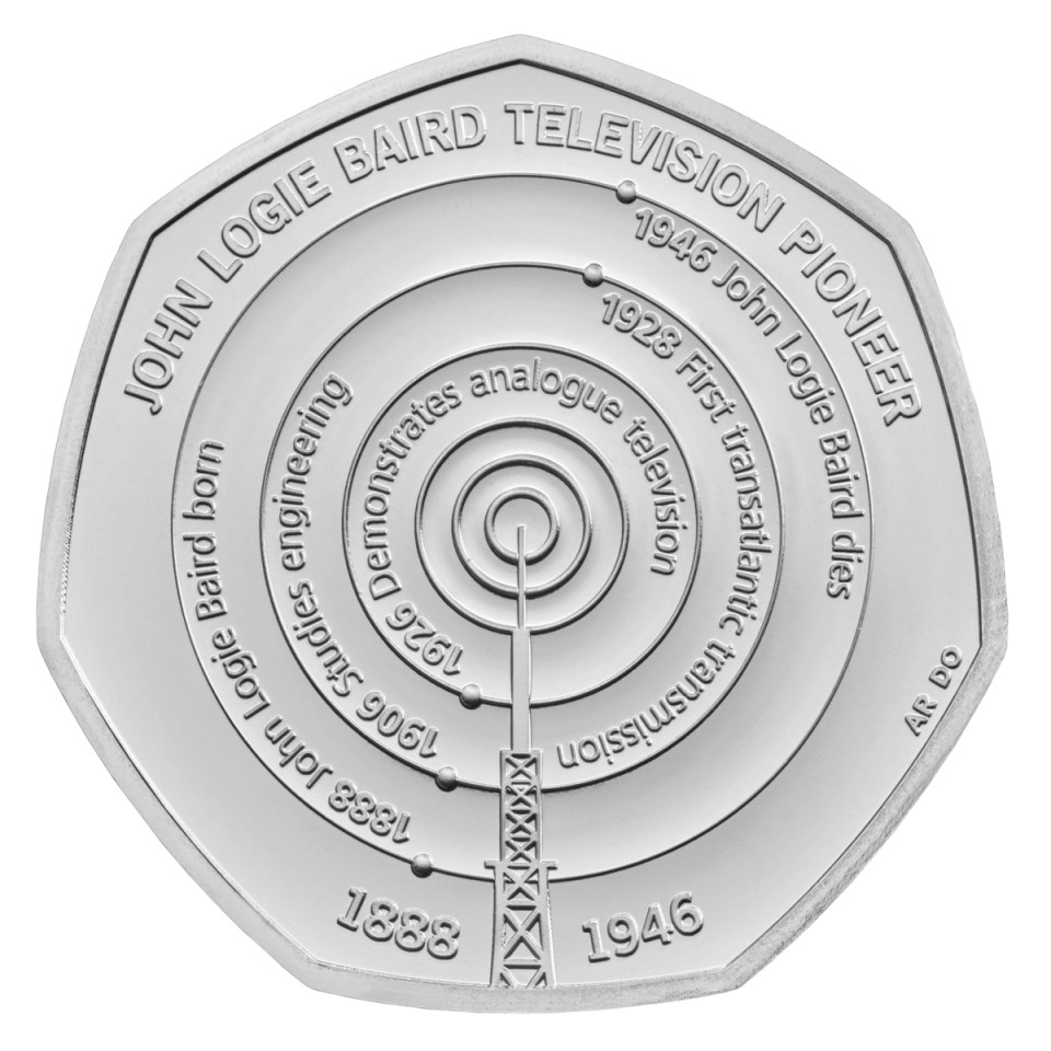 The coin features the Crystal Palace mast used by John Logie Baird