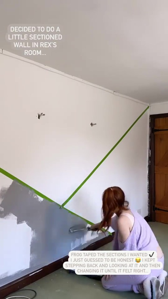 Stacey used the frog tape trick to create a geometric effect wall