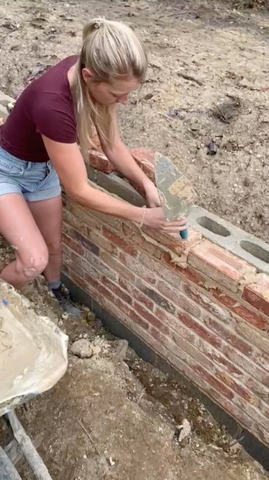 Darcie took up bricklaying two years ago — at first working for her property developer parents but now freelance