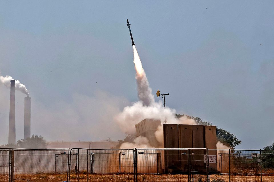 Israel's Iron Dome aerial defence system intercepts rockets launched from the Gaza Strip, controlled by the Palestinian Hamas movement