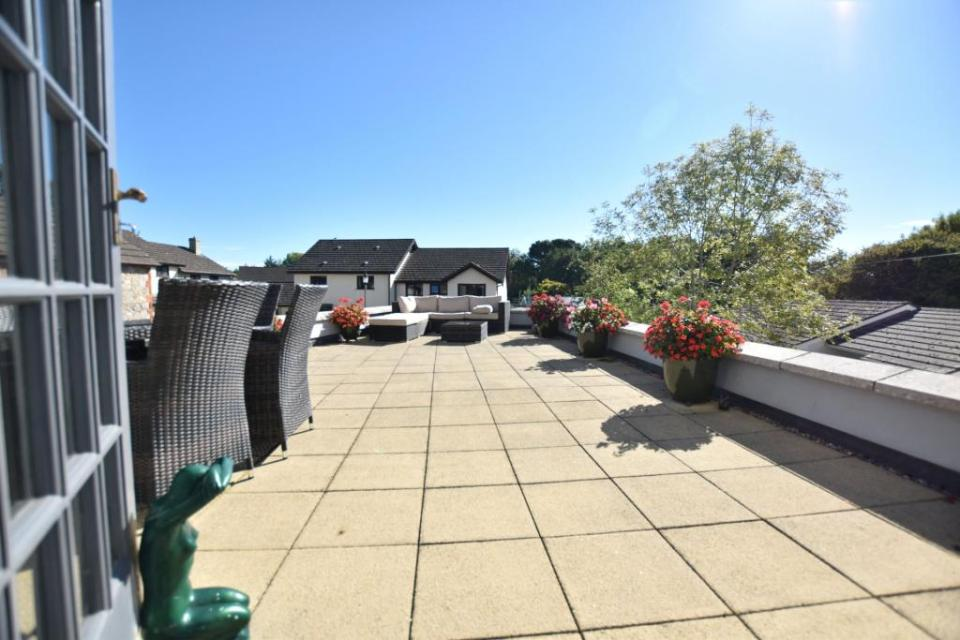 The rooftop garden offers incredible views of the surrounding countryside