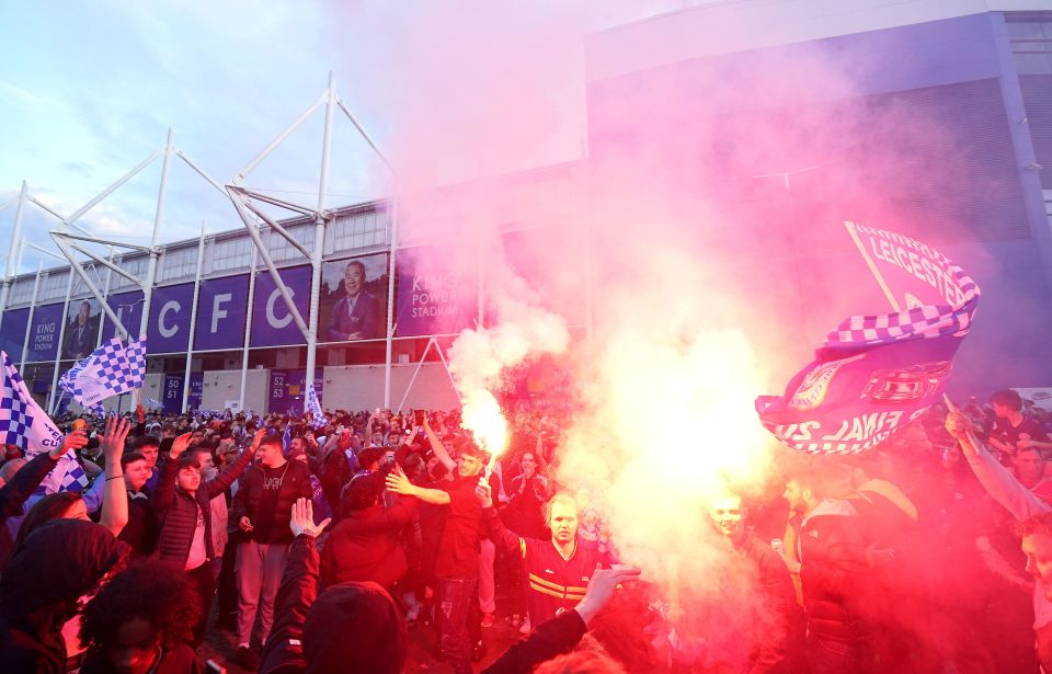 Leicester fans gathered outside the King Power to celebrate the win