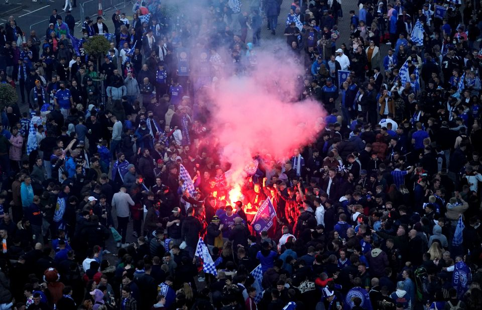 Hundreds of fans celebrated outside their home ground
