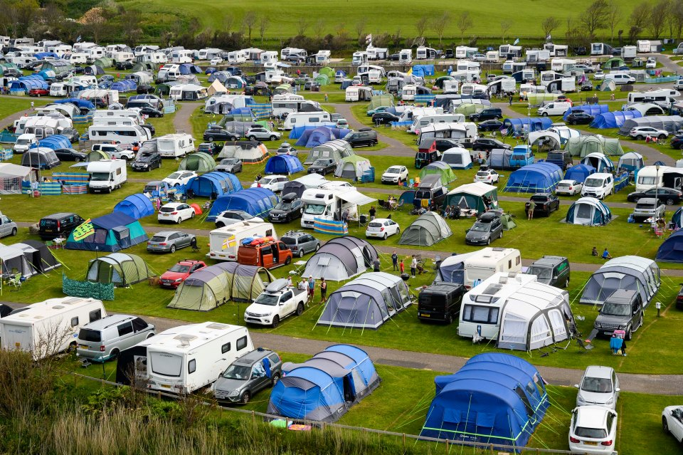 Freshwater Beach Holiday Park at Burton Bradstock in Dorset is packed with holidaymakers this bank holiday weekend