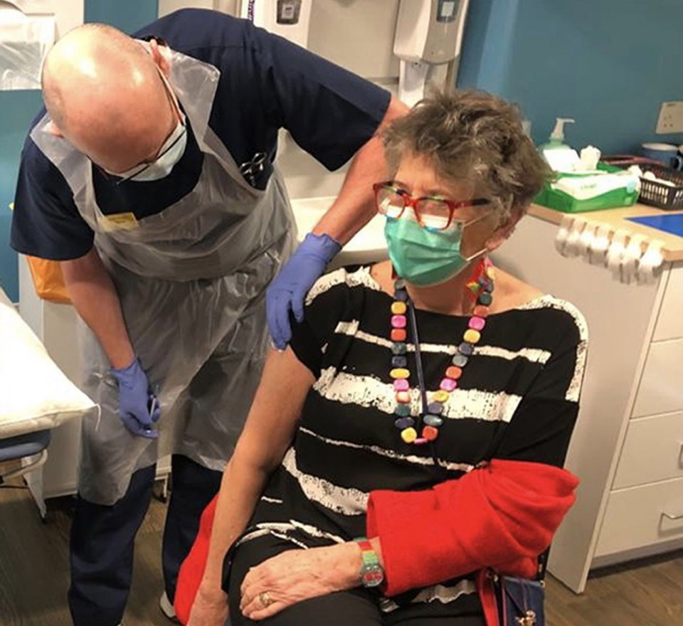 Prue receiving her first dose of the Pfizer/BioNTech COVID-19 vaccine in February
