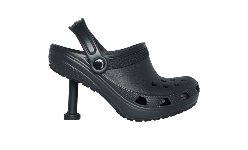 Fashion mag Elle said: 'Behold, the stiletto croc. A chance to see the world's most functional shoe take on a new impracticality'