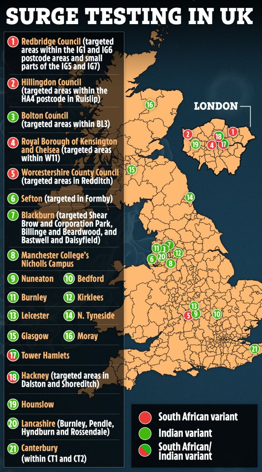Surge testing has been carried out at locations across the UK in recent weeks