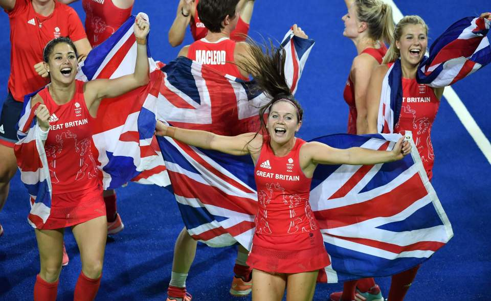 Team GB players celebrate their gold medal success at Rio 2016