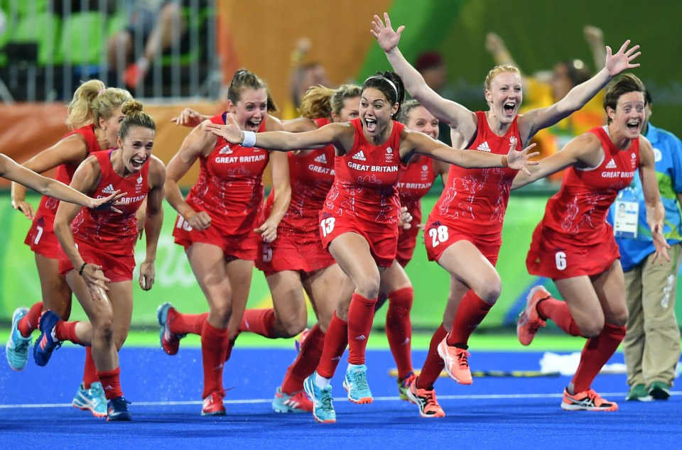 Team GB celebrate after beating Holland in a penalty shoot-out to win gold at Rio 2016.