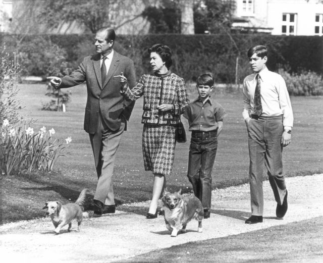 Edward's was the only birth Prince Philip was reportedly at. Pictured: The Queen, Prince Philip, Andrew and Edward tour gardens of Windsor Castle in 1973