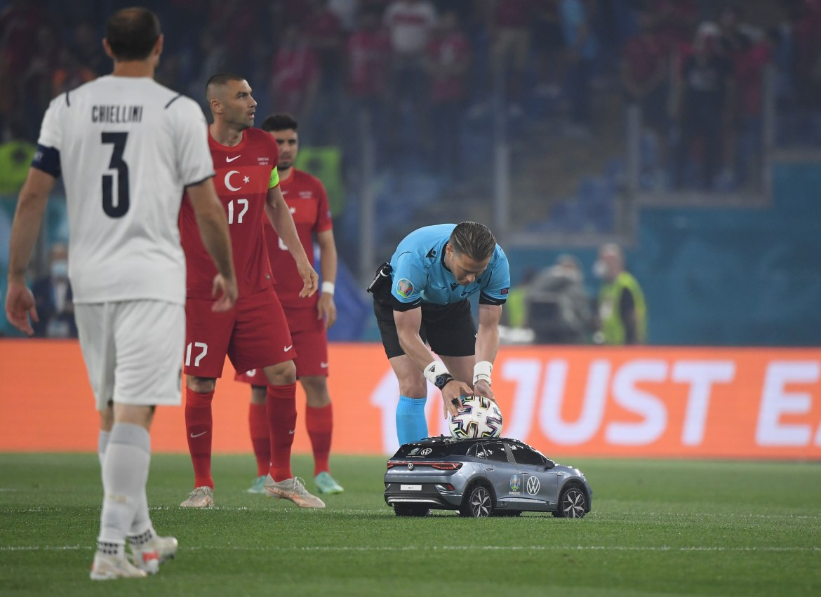 The remote control car attracted a lot of interest for the opening game of the tournament