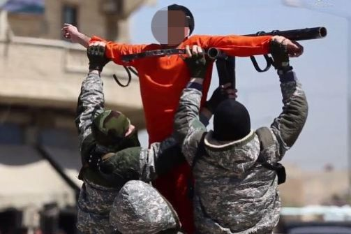 ISIS turned their brutality into propaganda - seen here putting a man on a cross before shooting him dead
