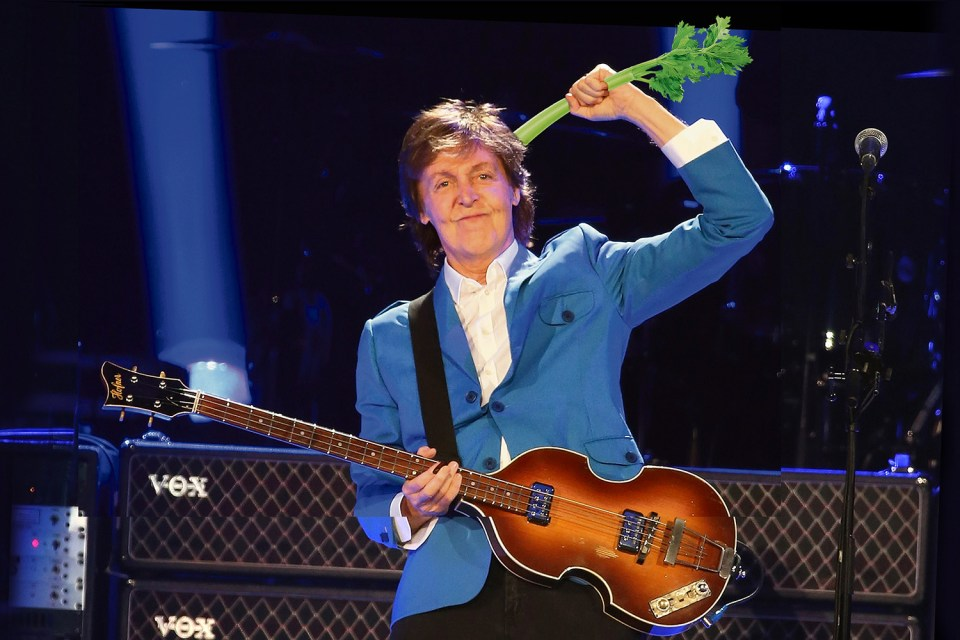 A recording of Sir Paul McCartney munching on celery and carrots has been released