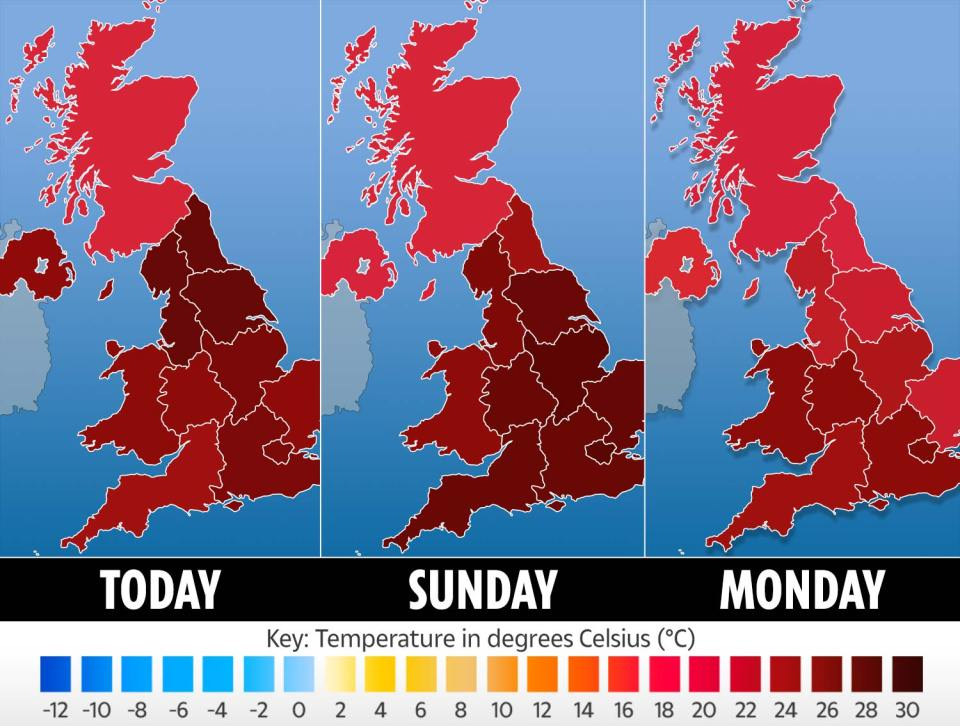 It's expected to be the hottest day of the year so far, with even more sunshine to come on Sunday and Monday