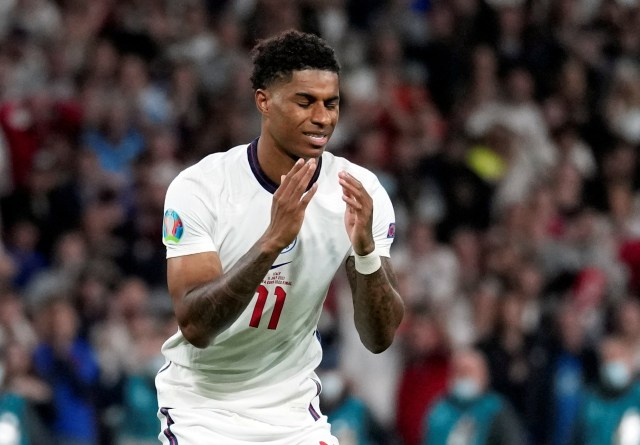 Rashford was left heartbroken after his penalty trickled on to the post and out