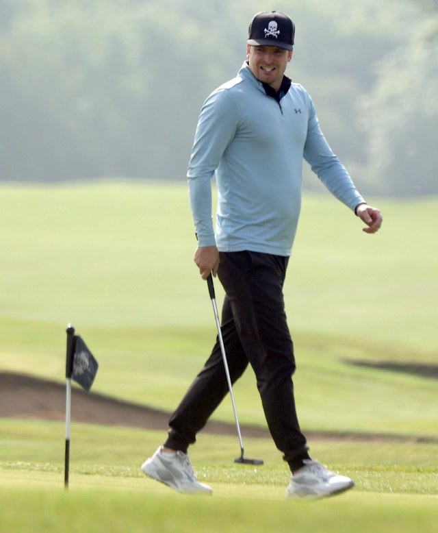 Stacey is back with Adam Johnson, seen playing at his golf club in Co Durham recently