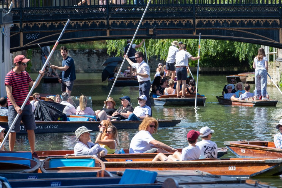 Punters take a trip out on the River Cam in Cambridgeshire