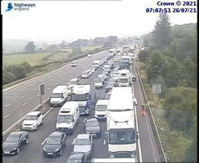 Traffic on the M25 near Sevenoaks after a multi-vehicle collision this morning