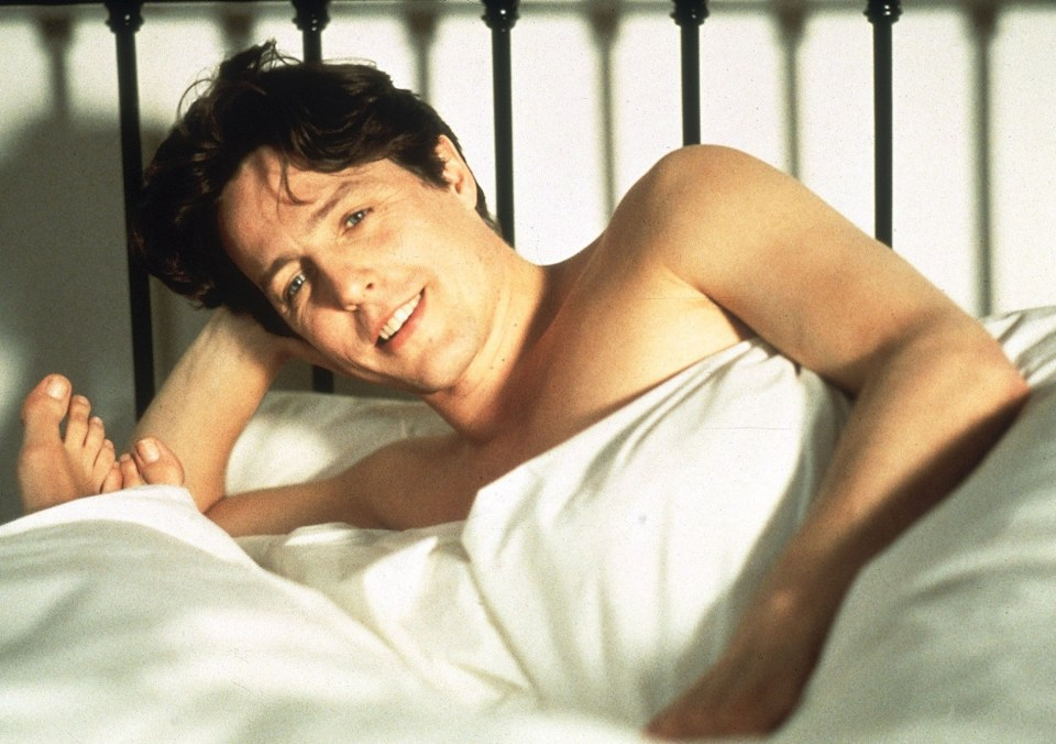 Hugh Grant in one love scene for Notting Hill, which he starred in alongside Julia Roberts