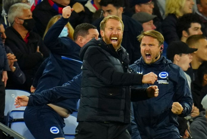 Graham Potter celebrates wildly after snatching a point by his side