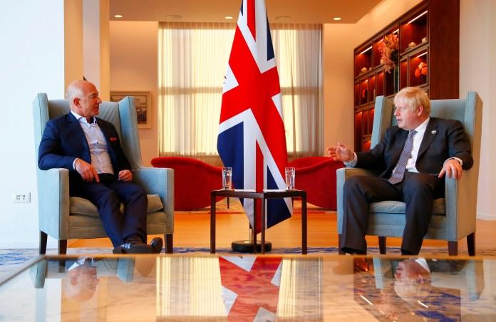 Amazon founder Jeff Bezos meets with British Prime Minister Boris Johnson at UK diplomatic residence