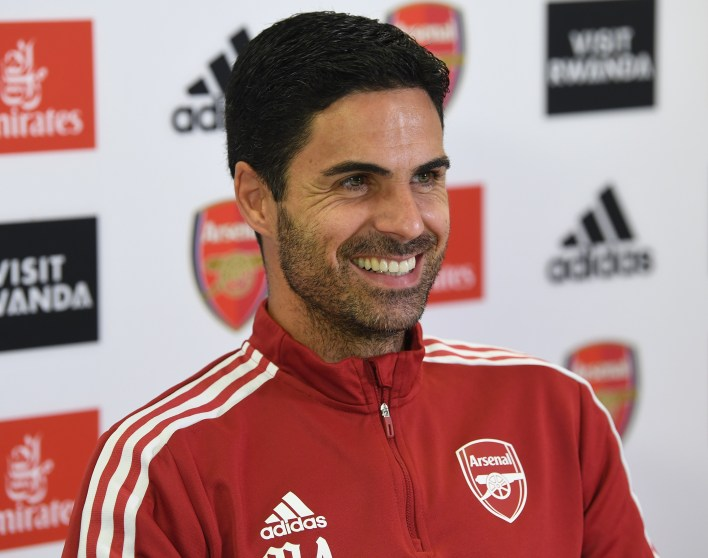 Mikel Arteta appeared in high spirits as he revealed he had a fully-fit Arsenal squad at his disposal to take on Tottenham in Sunday's North London derby