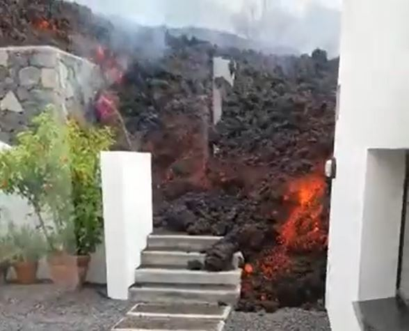 A river of molten rock entered the dining room of a house