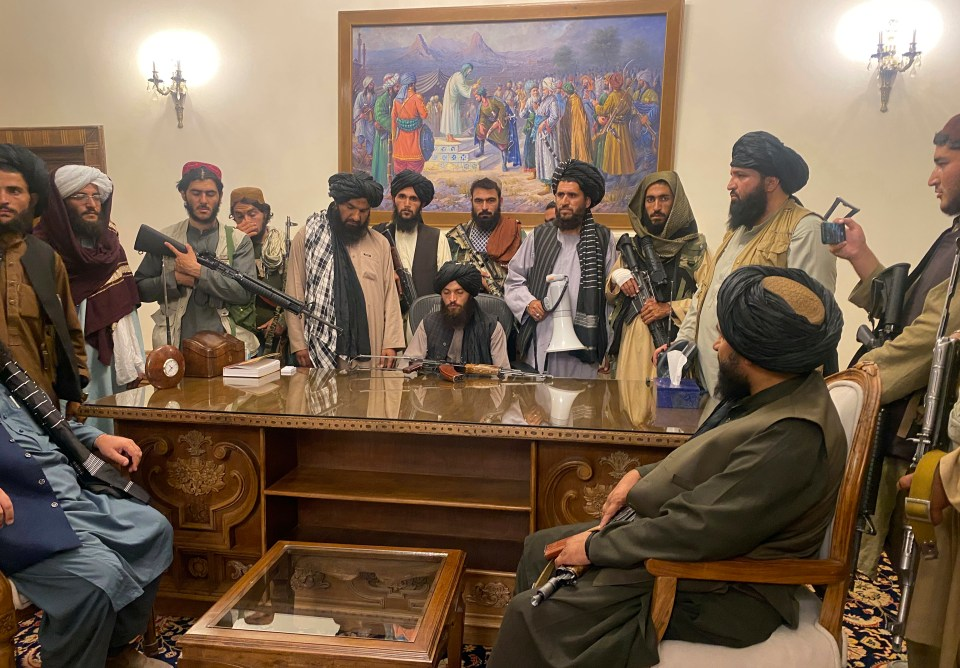 Taliban leaders in the Presidential Palace in Kabul after their victory