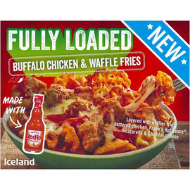 Get two boxes of these Buffalo chicken and waffle fries at Iceland for just £5