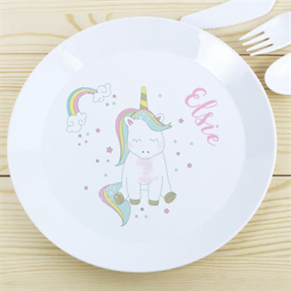 This cute personalised unicorn baby plate is adorable