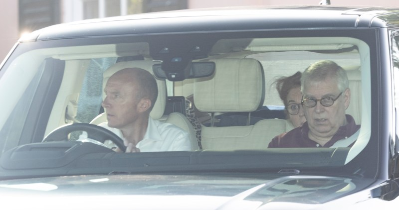 Prince Andrew and Fergie leave Windsor en route to see the Queen