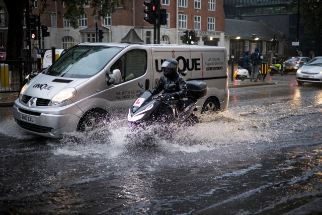 Motorists were warned yesterday morning following the torrential downpours