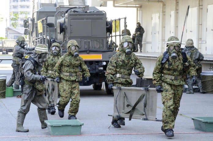 Japanese troops staged a bio-warfare exercise in Tokyo earlier this year