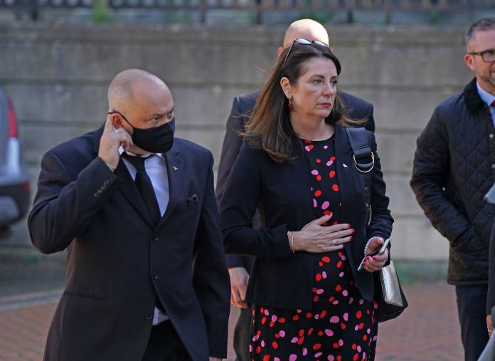 Ollie's parents Stuart and Amanda Stephens are seen arriving in court today