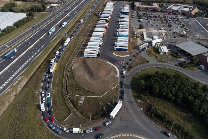 Huge tailback at Cambridge Services on the A14, Cambridgeshire