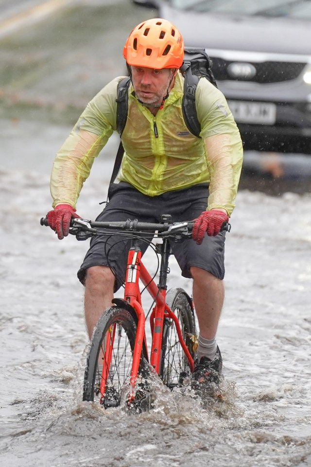 A cyclist struggling in Sheffield today
