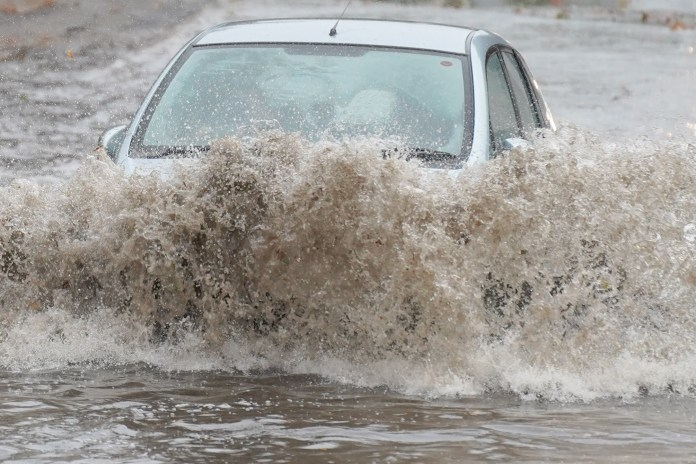 Drivers had to go through flooding in Sheffield this morning