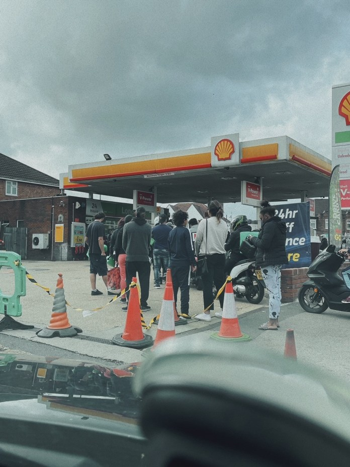Lily posted pictures of the queue for the petrol garage