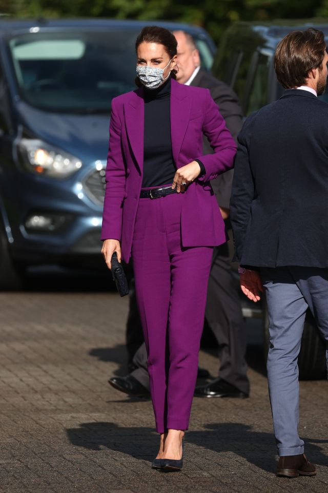 TODAY Kate stunned in a slim fit purple suit and simple pump heels