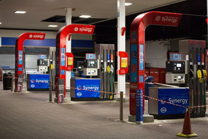 Brixton.  in a closed petrol station