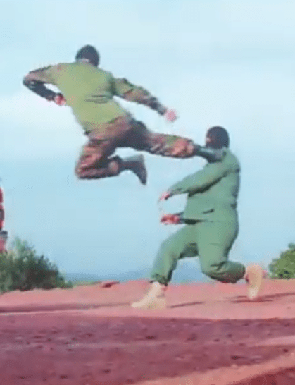 Taliban squads noticed in weird karate-style coaching video smashing dishes and attacking melee