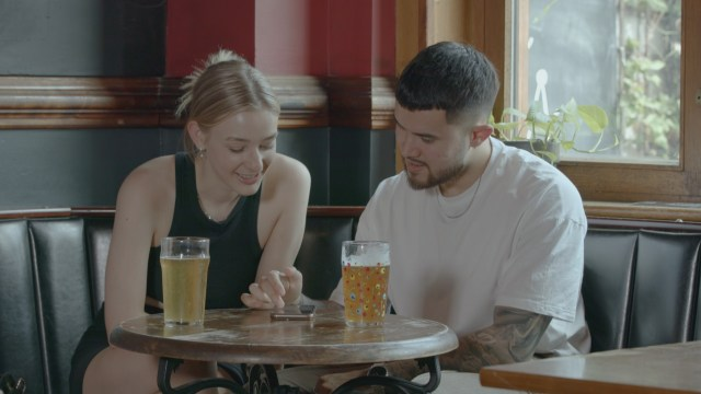 The couple discuss whether to 'swipe right' on girls