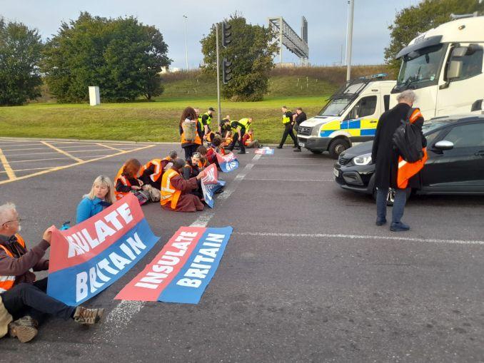 Emma, second from left, blocks roads near the M25 in Dartford in 2021.