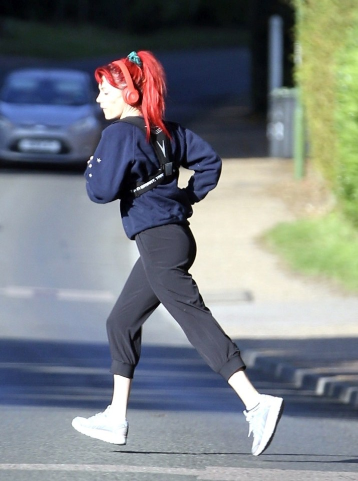 The star went for a run near her West Sussex home, wearing her trademark hair in a ponytail