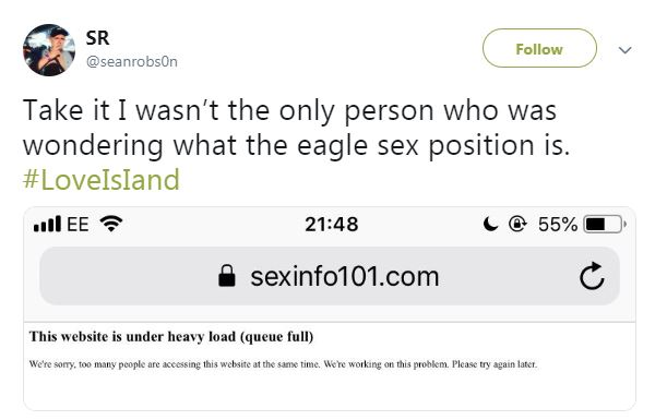 Fans quickly headed to Google to find out what position 'the eagle' is