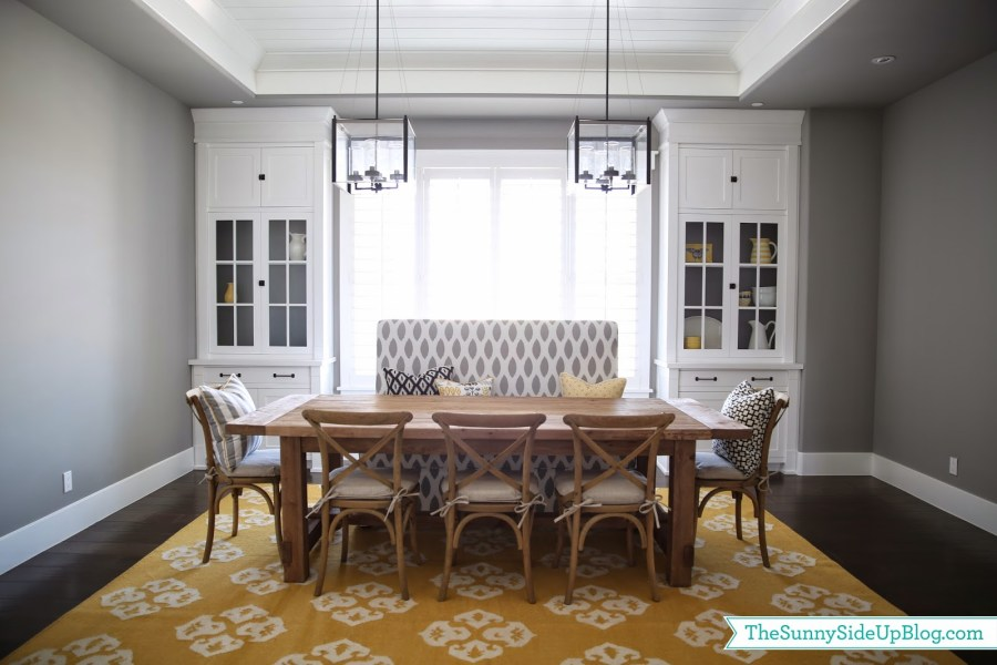Dining room decor update  bench  chairs  pillows    The Sunny Side     Dining room decor update  bench  chairs  pillows