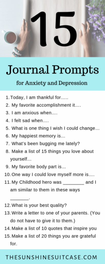 15 Journal Prompts for Menatal Health, Anxiety and depression
